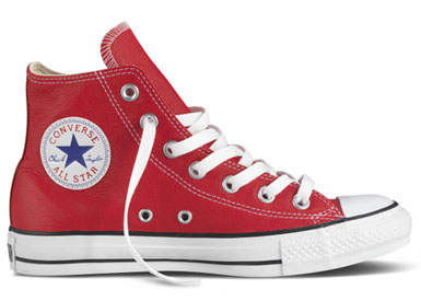 Adorn you feet in these flashy red leather high top chucks from Converse.  Leather upper, rubber sole.