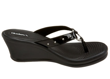 Skechers Womens Rumblers Kitty Black Wedge Thong Sandal